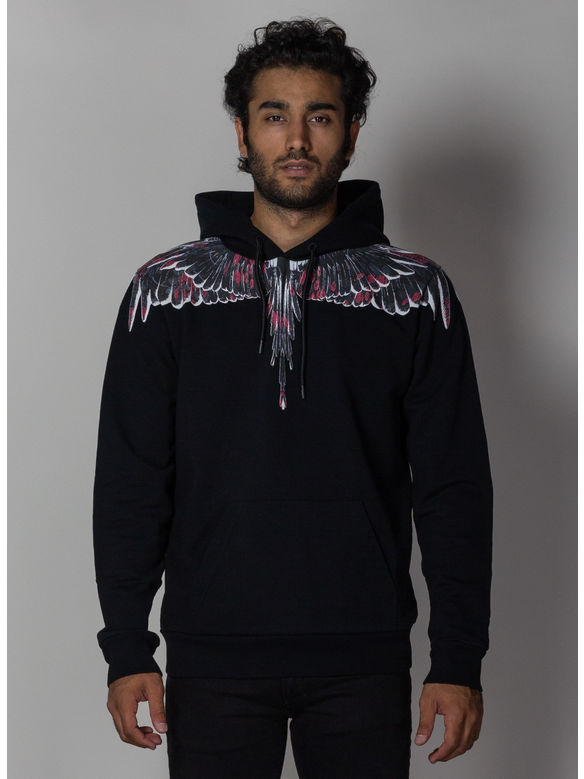 FELPA FLOWER WINGS HOODIE, BLACK/MULTI, medium