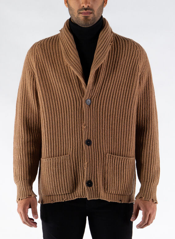 CARDIGAN SCIALLATO, 32612CAMMELLO, medium