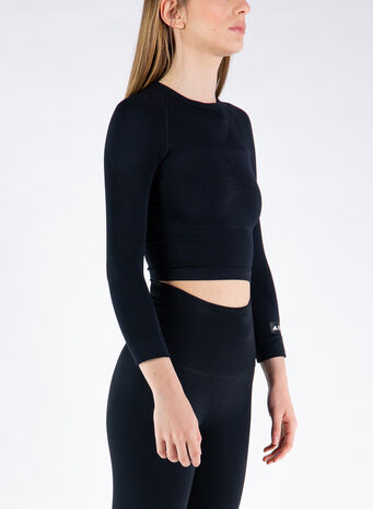 T-SHIRT FORMOTION CROP, BLACK, small
