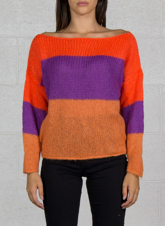 MAGLIA COLOR BLOCK IN MOHAIR, 226PUMPKIN, medium
