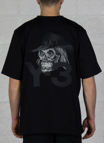 T-SHIRT JOHJI SKULL TEE, BLACK, small