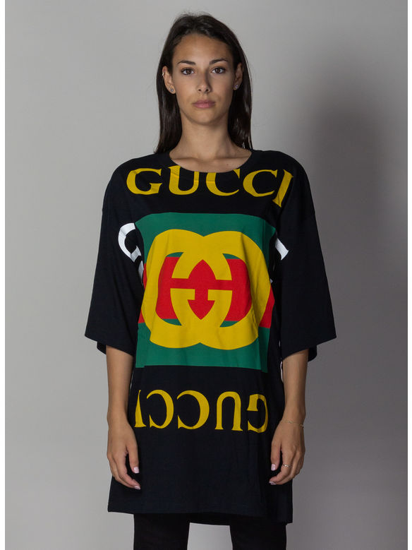 T-SHIRT OVERSIZE CON LOGO GUCCI, 1082BLACKMULTI, medium