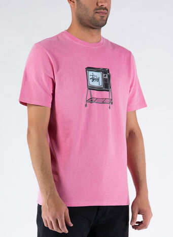 T-SHIRT ROLLING TV PIG. DYED, PINK, small