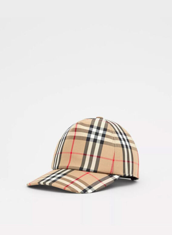 CAPPELLO TRUCKER CON MOTIVO VINTAGE CHECK LOGO, ARCHIVEBEIGE, medium