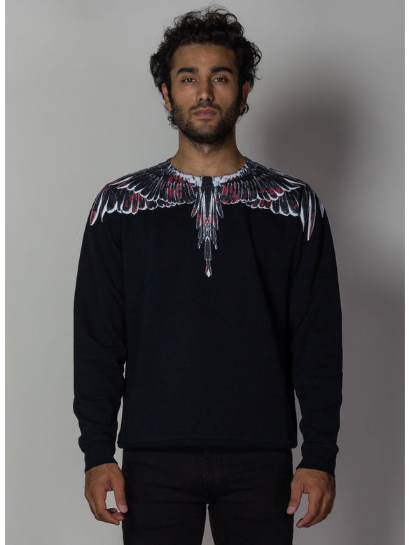 FELPA FLOWER WINGS SWEATSHIRT, BLACK/MULTI, medium