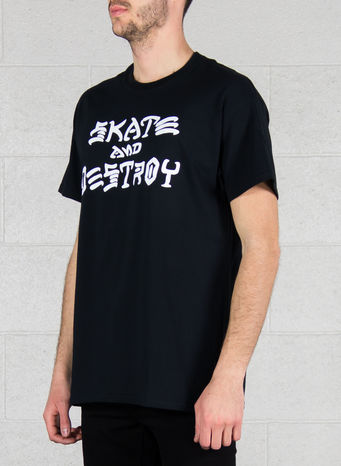T-SHIRT SKATE AND DESTROY, BLACK, small