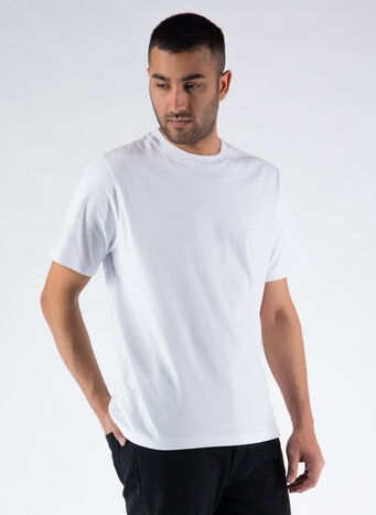 T-SHIRT STOCK LOGO CREW, WHITE, small