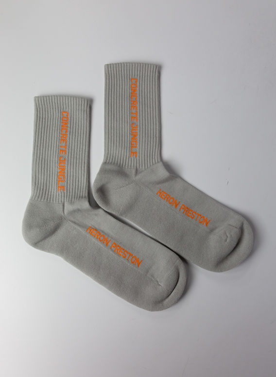 CALZINI LONG SOCKS CONCRETE JUNGLE, ICEGREY/ORANGE, medium