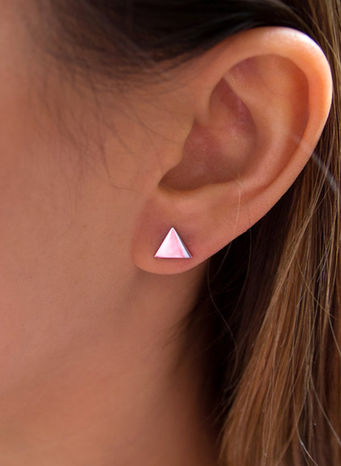 ORECCHINI KUKO EARRINGS TRIANGLES, SILVER, small