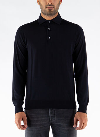 POLO A MANICHE LUNGHE, 008NAVY, small