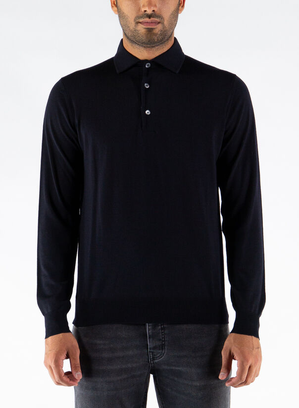 POLO A MANICHE LUNGHE, 008NAVY, large