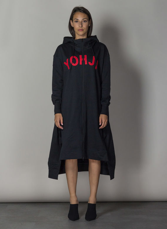 FELPA YOHJI LETTERS FULL ZIP LONG HOODIE, BLACK/YOHJIRED, medium