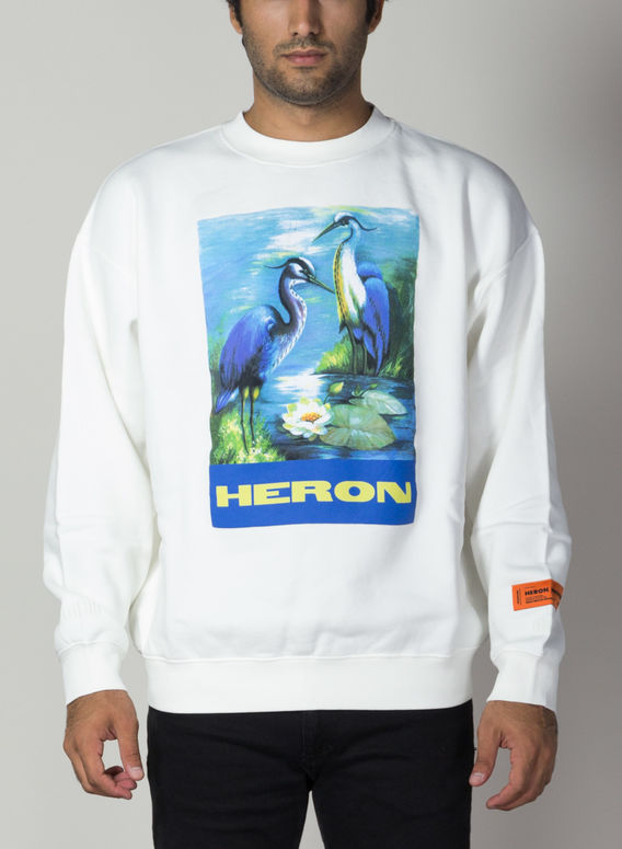 FELPA CREWNECK PERMANENT, OFFWHITE/MULTI, medium