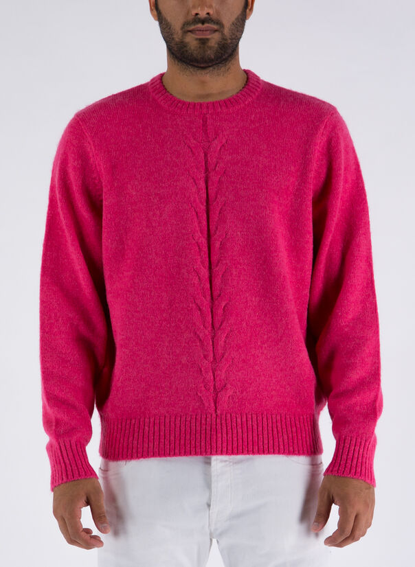 MAGLIONE DOUBLE CABLE, PINK, large