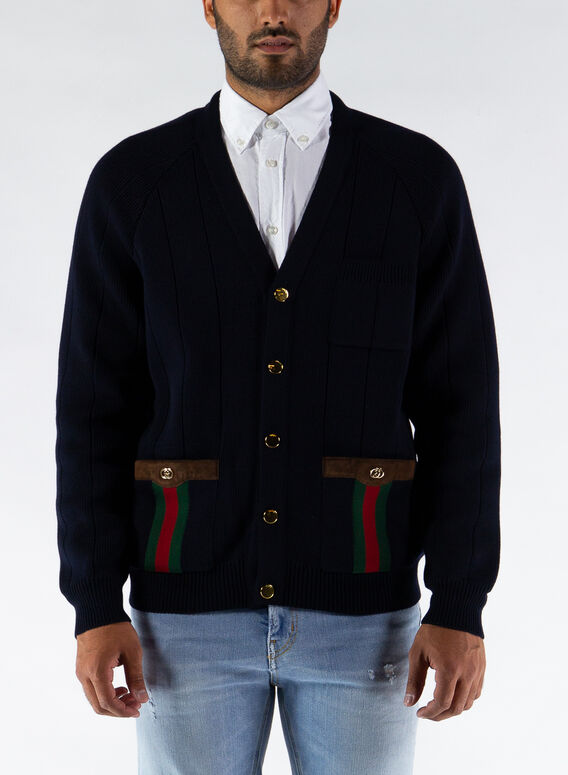CARDIGAN IN MISTO LANA CON NASTRO WEB, 4330, medium