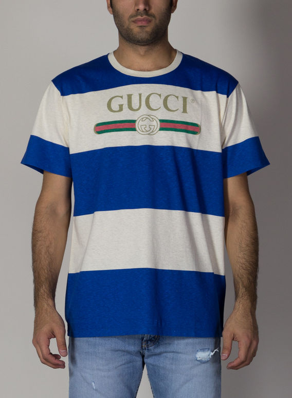 T-SHIRT A RIGHE CON LOGO GUCCI, 9230, medium