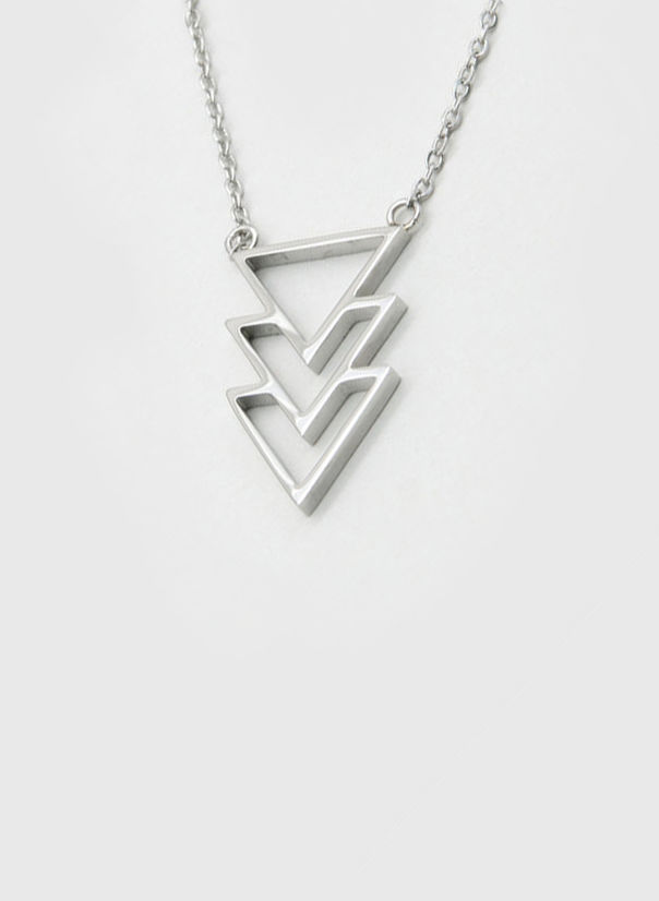 COLLANA KUKO NECKLACE TRIANGLES, SILVER, large