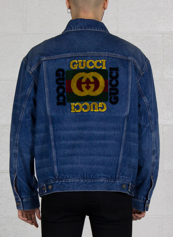 classic fit 6cd0e 0c042 M GIUBBOTTO DENIM LOGO GUCCI FAKE E19