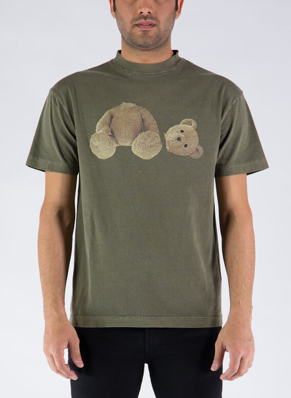 T-SHIRT BEAR PRINT, 5601MILITARYWHITE, medium