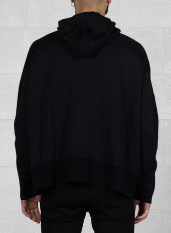 FELPA KNITTED STACKED LOGO HOODIE, BLACK, small