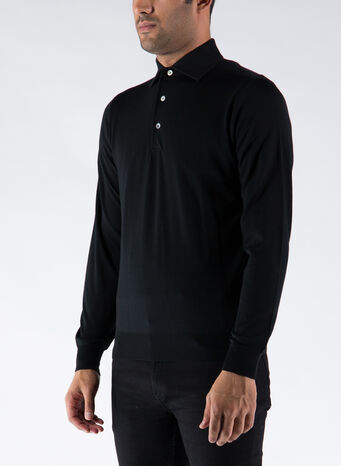 POLO A MANICHE LUNGHE, 002BLACK, small