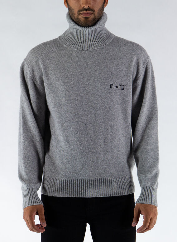 MAGLIONE OW LOGO CASHEMER TURTLENE, 0910GREYBLACK, medium