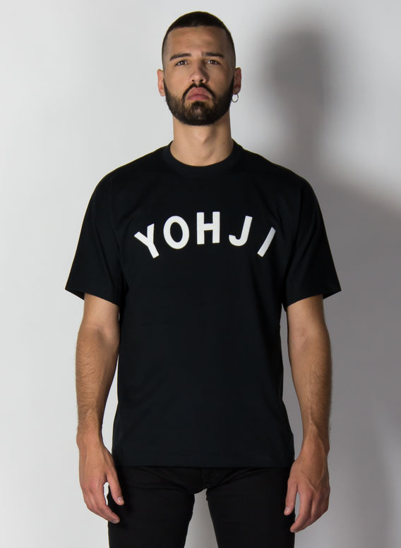T-SHIRT YOHJI LETTERS, BLACK/OFFWHITE, medium