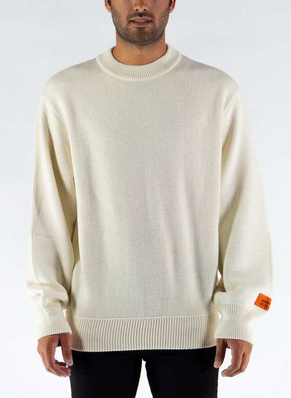 MAGLIONE KNIT CREWNECK, CREAM/BLACK, medium