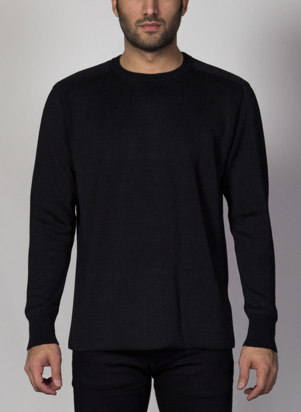 MAGLIONE CLASSIC KNITTED CREWNECK, BLACK, large