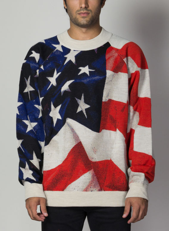 MAGLIONE OVERSIZED KNIT AMERICAN FLAG, 089, medium