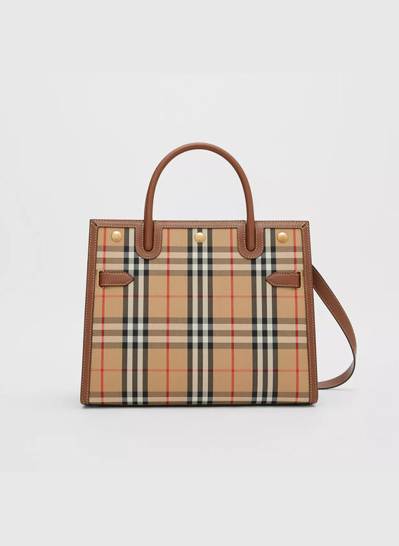 BORSA TITLE MEDIA IN VINTAGE CHECK CON DUE MANICI, ARCHIVEBEIGE, medium