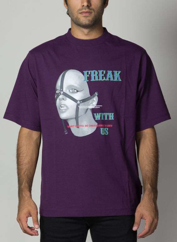T-SHIRT FREAK OVER, DARKPURPLE/MULTI, medium