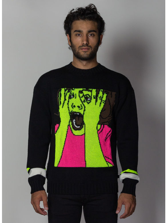MAGLIONE SCARED FACE SWEATER, BLACK/MULTI, medium