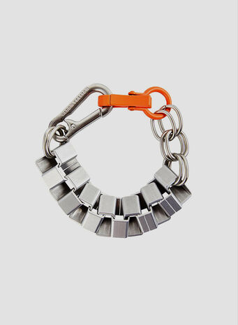 BRACCIALE CUBIC CHAIN, SILVER/ORANGE, small