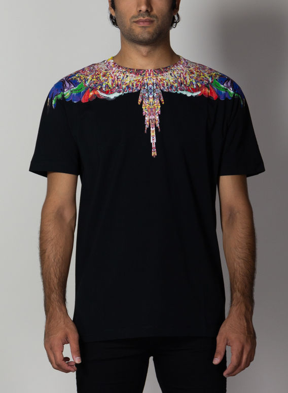 T-SHIRT MULTICOLOR WINGS, BLACK/MULTICOLOR, medium