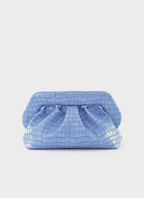 BORSA BIOS VEGAN CROCO PERIWINKLE, PERIWINKLE, medium