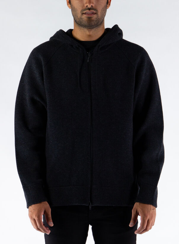 MAGLIONE KNIT FULLZIP HDY, CHARCOAL, large