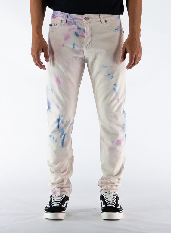 JEANS TIE DYE 5 POCKETS, WHITE/MULTI, medium
