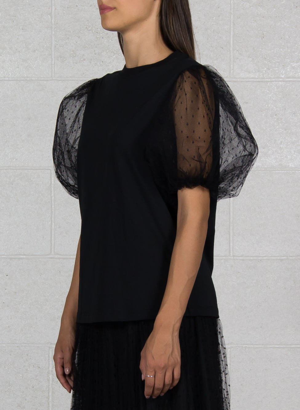 T-SHIRT CON MANICHE IN TULLE, 0NONERO, small