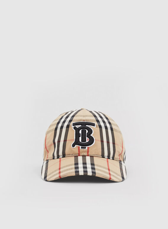 BERRETTO DA BASEBALL IN COTONE CON MOTIVO VINTAGE CHECK E MONOGRAMMA, ARCHIVEBEIGE, medium