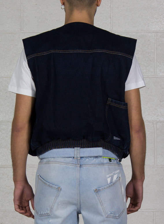 SMANICATO MULTIPOCKET DENIM VEST, DARKBLUEWASH, medium
