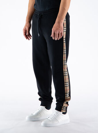 PANTALONI DA JOGGING IN COTONE CON INSERTI VINTAGE CHECK, BLACK, small