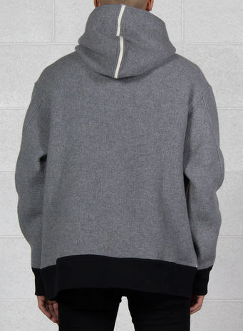 FELPA SPACER WOOL HOODIE, MGREYHEATHER/BLACK, small