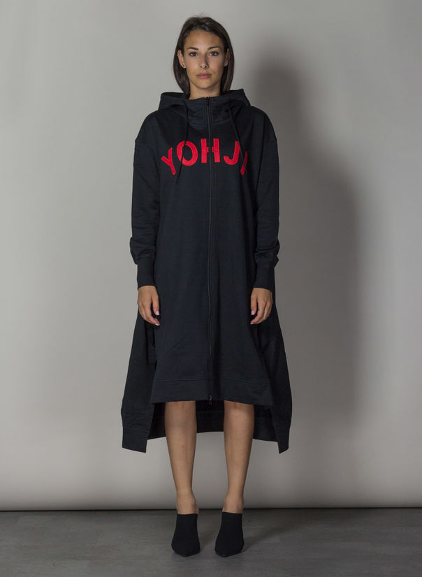 FELPA YOHJI LETTERS FULL ZIP LONG HOODIE, BLACK/YOHJIRED, large