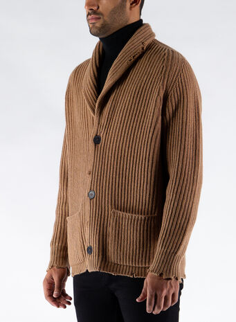 CARDIGAN SCIALLATO, 32612CAMMELLO, small