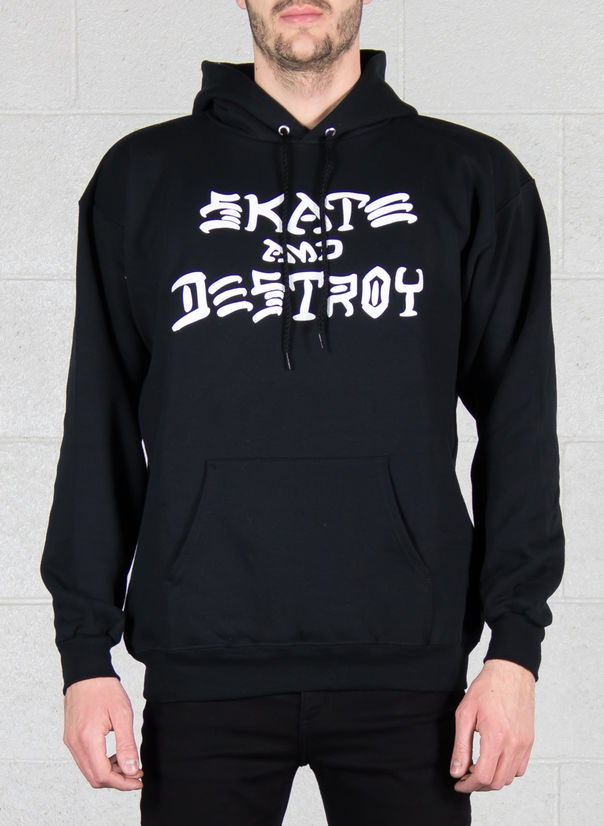 FELPA SKATE AND DESTROY HOOD, BLACK, large