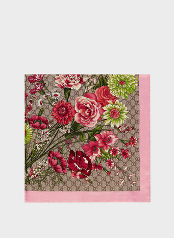FOULARD IN SETA CON STAMPA BOUQUET FLOREALE, 9772, small