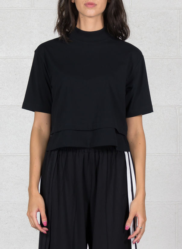 T-SHIRT STACKED LOGO CROP SS TEE, BLACK, large