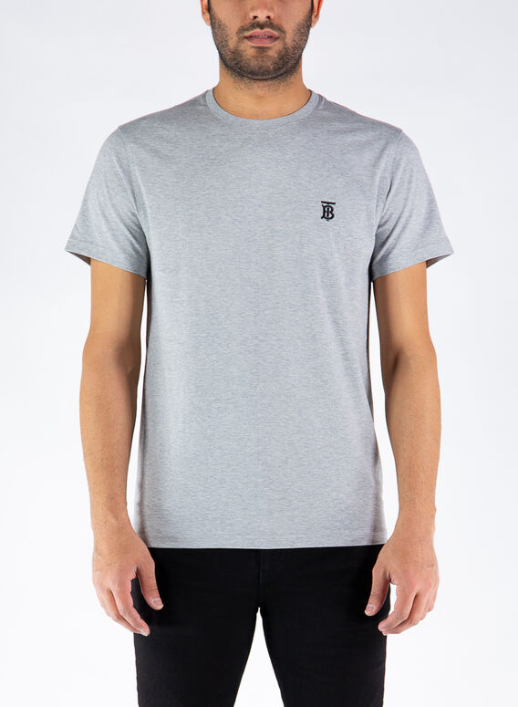 T-SHIRT IN COTONE CON MOTIVO MONOGRAMMA, PALEGREY, medium