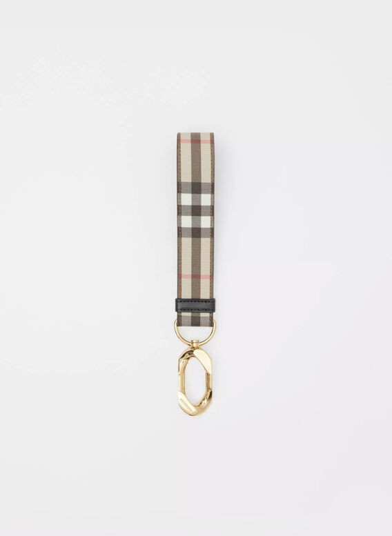 CHARM IN PELLE CON MOTIVO VINTAGE CHECK, ARCHIVEBEIGE, medium
